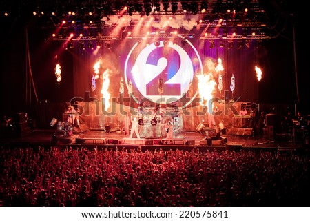 MOSCOW, RUSSIA - JUNE 29, 2011: American heavy-metal band Slipknot performing at Olimpiyski stadium, Moscow during Memorial World Tour. Toned picture - stock photo