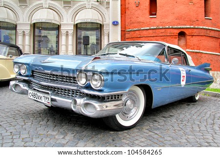 MOSCOW, RUSSIA - JUNE 3: American motor car Cadillac Eldorado competes at the annual L.U.C. Chopard Classic Weekend Rally on June 3, 2012 in Moscow, Russia. - stock photo