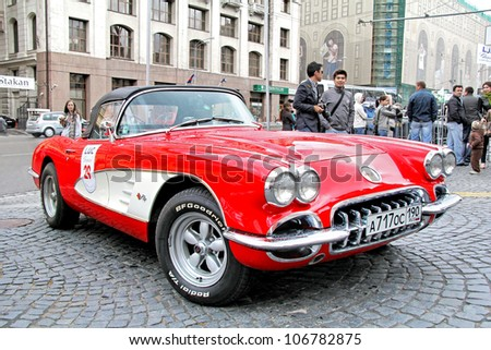 MOSCOW, RUSSIA - JUNE 3: American motor car Chevrolet Corvette competes at the annual L.U.C. Chopard Classic Weekend Rally on June 3, 2012 in Moscow, Russia. - stock photo