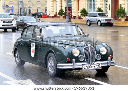 MOSCOW, RUSSIA - JUNE 3, 2012: British motor car Jaguar Mark 2 competes at the annual L.U.C. Chopard Classic Weekend Rally. - stock photo