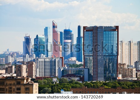 MOSCOW, RUSSIA - JUNE 20: Buildings of Moscow City in Russia on June 20, 2013. The Moscow City is new commercial district in central Moscow, located near the Third Ring Road in Presnensky District.