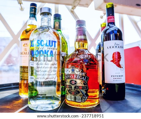 MOSCOW. RUSSIA - JUNE 2: Collection of alcoholic drinks are popular in nightclubs and bars in city Moscow on June 2, 2014, Moscow in Russia - stock photo