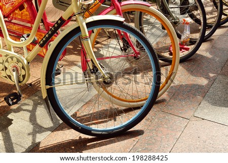 MOSCOW,RUSSIA - JUNE 12,2014:Electra Bicycle Company is a bicycle manufacturing company based in Vista, California, US, founded in 1993 by Benno Banziger and Jeano Erforth. - stock photo