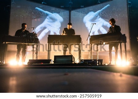 MOSCOW, RUSSIA - JUNE 29, 2014 - Electronic music project Moderat performing live at Park Live festival at at the National Exhibition Centre on June 29, 2014 in Moscow, Russia - stock photo