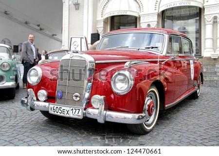 MOSCOW, RUSSIA - JUNE 3: German motor car Mercedes-Benz Type 300 competes at the annual L.U.C. Chopard Classic Weekend Rally on June 3, 2012 in Moscow, Russia. - stock photo