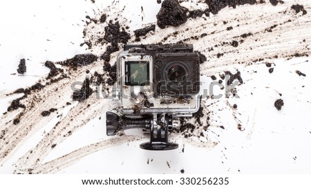 MOSCOW, RUSSIA- june 29, 2015: GoPro Hero 4 Black Edition on muddy background. Manufactured by GoPro Inc.pro, - stock photo