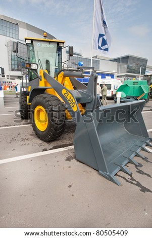 MOSCOW, RUSSIA - JUNE 02:  Grey diesel front end loader on display at Moscow International exhibition Construction equipment and technologies on JUNE 02, 2010 in Moscow, Russia.