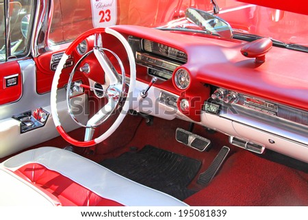 MOSCOW, RUSSIA - JUNE 2, 2013: Interior of american motor car Cadillac Eldorado taken part at the annual L.U.C. Chopard Classic Weekend Rally. - stock photo