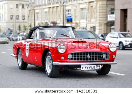 MOSCOW, RUSSIA - JUNE 2: Italian motor car Ferrari 250GT competes at the annual L.U.C. Chopard Classic Weekend Rally on June 2, 2013 in Moscow, Russia. - stock photo
