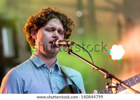 MOSCOW, RUSSIA - 1 JUNE: Joe Newman (Alt-J) playing on Moscow Ahmad Tea Music Festival. Moscow, 1 June, 2013