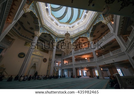 MOSCOW, RUSSIA - JUNE 06, 2016: Moscow Cathedral Mosque. One of the largest and highest mosque in Russia and Europe. Interior view.