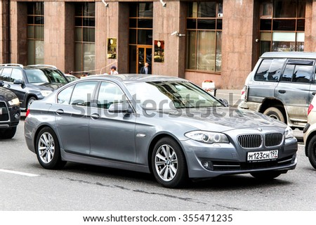 MOSCOW, RUSSIA - JUNE 2, 2013: Motor car BMW F10 5-series at the city street. - stock photo
