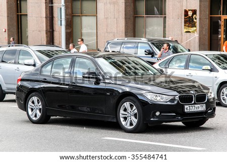 MOSCOW, RUSSIA - JUNE 2, 2013: Motor car BMW F30 3-series in the city street. - stock photo