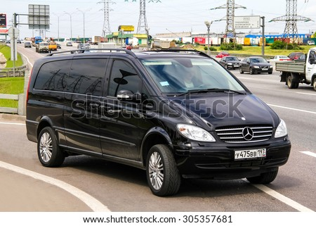 MOSCOW, RUSSIA - JUNE 2, 2012: Motor car Mercedes-Benz W639 Viano at the interurban freeway. - stock photo