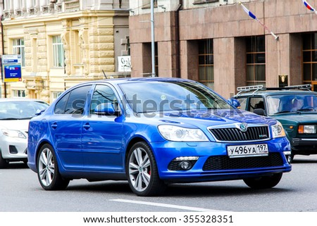 MOSCOW, RUSSIA - JUNE 2, 2013: Motor car Skoda Octavia RS at the city street. - stock photo