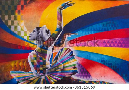Moscow, Russia, June, 20, 2015. Russian Scene: Maya Plisetskaya on the Big Dmitrovka by Brazilian artist Eduardo Kobra, Dmitrovka street in Moscow