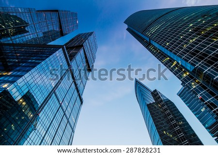 MOSCOW, RUSSIA - JUNE 9, 2015: Skyscrapers of The Moscow International Business Center