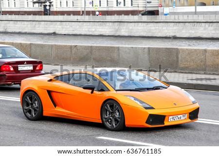 moscow russia june 2 2013 sports car lamborghini gallardo in the city