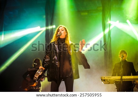 MOSCOW, RUSSIA - JUNE 29, 2014 - Swedish indie pop singer-songwriter Lykke Li performing live at Park Live festival at at the National Exhibition Centre on June 29, 2014 in Moscow, Russia - stock photo