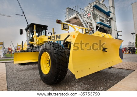 MOSCOW, RUSSIA - JUNE 02:  Yellow diesel land grader on display at Moscow International exhibition Construction equipment and technologies on June 02, 2010 in Moscow, Russia.