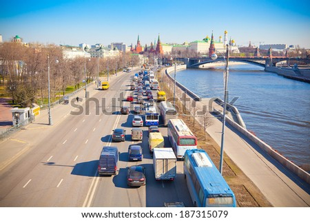 Moscow, Russia,  Kremlin Embankment and Big Stone Bridge. Traffic jams in the direction of the city center.  - stock photo