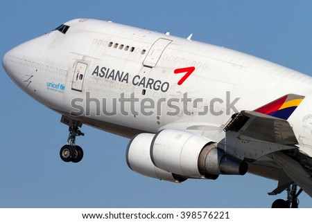MOSCOW, RUSSIA - MARCH 15, 2016: Asiana Cargo Boeing 747 takes off the Domodedovo International Airport, Russia.