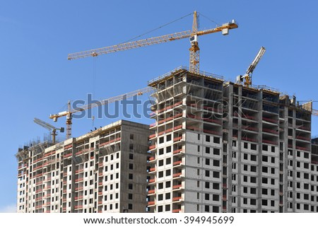 MOSCOW, RUSSIA - MARCH 20, 2016: Construction of modern residential building in Moscow