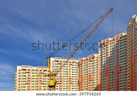MOSCOW, RUSSIA - MARCH 28, 2016: Construction of modern residential building in Moscow - stock photo