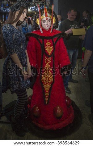 "MOSCOW, RUSSIA, MARCH 19-20, 2016: Festival ""ROSCON-2016"" cosplayers: Princess Amidala and unknown girl"