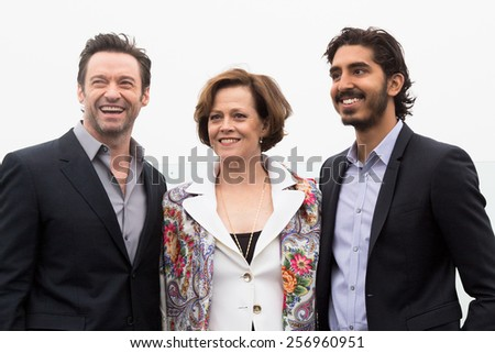 MOSCOW, RUSSIA, MARCH, 01: Hugh Jackman,S.Weaver,D.Patel. Photo-call of the movie 'Chappie', March, 01, 2015 at RITZ HOTEL in Moscow, Russia - stock photo