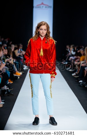 MOSCOW, RUSSIA - MARCH 15, 2017: Model walk runway for FAMILY HOPE catwalk at Fall-Winter 2017-2018 at Mercedes-Benz Fashion Week Russia. Kid's fashion. Fashion Time Designers.