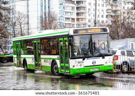 MOSCOW, RUSSIA - MARCH 8, 2015: Modern city bus LIAZ 5292 in the city street. - stock photo