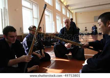 MOSCOW, RUSSIA - MARCH 25: Participants in the Twenty-ninth Moscow Open Tournament on Kendo (Kyu-Cap and Dan Cap), March 25, 2010 in Moscow, Russia.