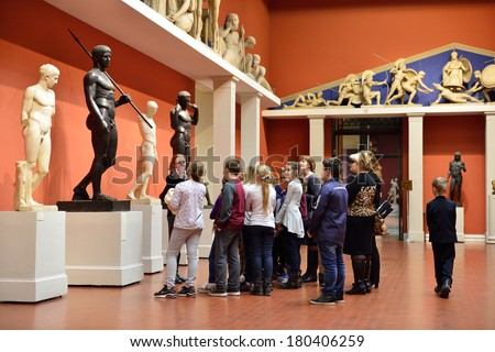 MOSCOW, RUSSIA - MARCH 7,2014:Pushkin Museum of Fine Arts is largest museum of European art in Moscow, Russia. Its first exhibits were copies of ancient statuary for education of art students. - stock photo