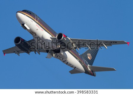 MOSCOW, RUSSIA - MARCH 15, 2016: Royal Jordanian takes off the Domodedovo International Airport, Russia.
