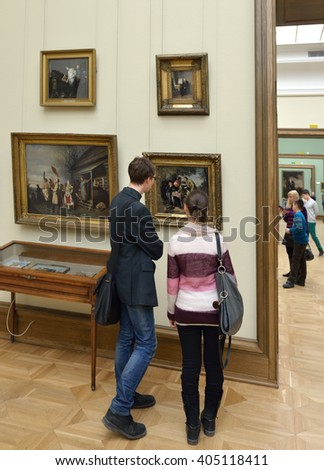 MOSCOW,RUSSIA - MARCH 27,2016:State Tretyakov Gallery was founded by Russian patron of arts Tretyakov. He donated his collection to city of Moscow in 1892. Gallery has since become world-famous museum