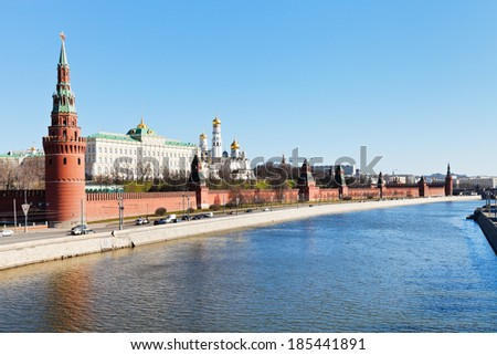 MOSCOW, RUSSIA - MARCH 29, 2014: view of Kremlin from side of Kremlin Embankment of Moskva River in Moscow. In present form the embankment was constructed in 1936.