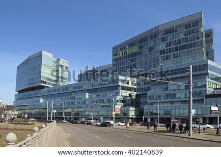 """Moscow, Russia - March 28, 2016: View on the multifunctional Business Center """"Legend of Tsvetnoy"""", combines luxury housing and offices, Tsvetnoy boulevard, Building 2, possession 1 - stock photo"""