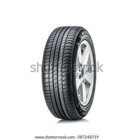 MOSCOW, RUSSIA - MARCH 4, 2016: Winter car tyre Primacy 3 205/55 R16 (RunFlat) brand  of the company Michelin, isolated on white background  . Michelin is a famous tyre manufacturer based in France.