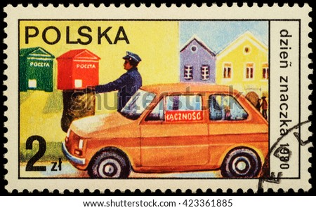 """MOSCOW, RUSSIA - MAY 20, 2016: A stamp printed in Poland shows postman collected letters from mailbox, series """"The Day of the Stamp"""", circa 1980 - stock photo"""