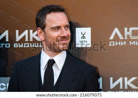 "MOSCOW, RUSSIA, May, 13: Actor Michael Fassbender. Premiere of the movie ""X-Men"", May, 13, 2014 at Rossiya Cinema in Moscow, Russia - stock photo"