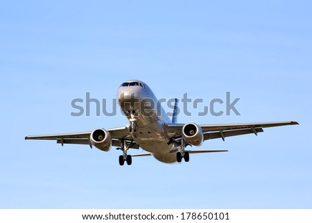 MOSCOW, RUSSIA - MAY 9, 2013: Aeroflot Sukhoi Superjet 100 arrives to Sheremetyevo International Airport, Russia.