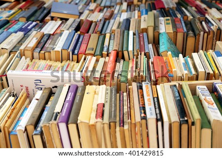Moscow,Russia-may 2015:books on store shelves - stock photo