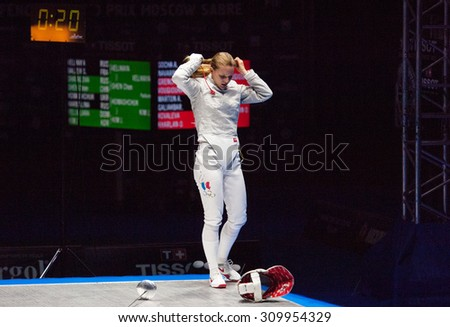 MOSCOW, RUSSIA - MAY 31 2015: Ekaterina Dyachenko ready to fight on the World  fencing Grand Prix Moscow Saber in Luzhniki sport palace - stock photo