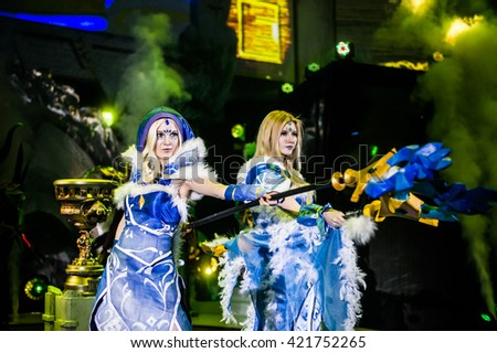 MOSCOW, RUSSIA - MAY 15 2016: EPICENTER MOSCOW Dota 2 cybersport event. Cosplay show. Hero crystal maiden