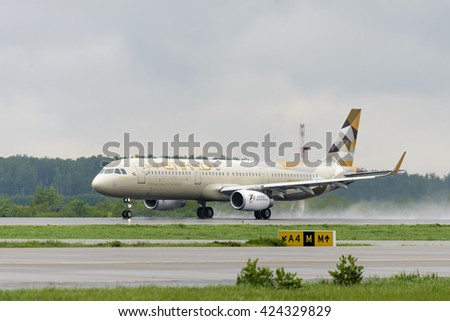 MOSCOW, RUSSIA - MAY 19, 2016: Etihad airlines Airbus A321 take off to the runway at Domodedovo International airport. - stock photo