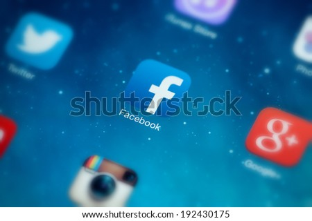 MOSCOW, RUSSIA - MAY 09, 2014: Facebook icon on a screen. Facebook is an online social networking service founded in February 2004 by Mark Zuckerberg - stock photo