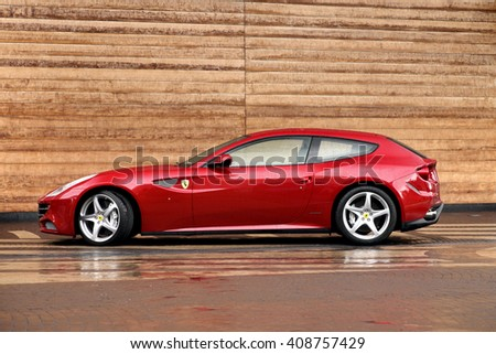 MOSCOW, RUSSIA - MAY 17 , 2011:  FERRARI  FF  SPORTS   CAR  ON THE STREET OF MOSCOW  ,MAY 17, 2011