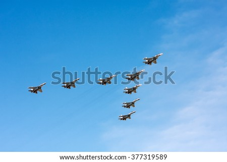Moscow, Russia - May 7, 2015: Group of planes Sukhoi Su-30 (Flanker-C) and Su-35 (Flanker-E) is a Russian fighters, from training to the parade on May 9th.