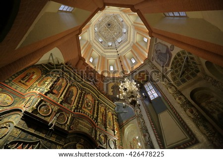 MOSCOW, RUSSIA - MAY 22, 2016: Interior of the building of the famous St. Basil's Cathedral